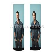 Luke Bryan Custom Sublimation Printed Socks Polyester Acrylic Nylon Spandex with Small Medium Large Size