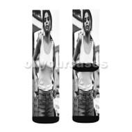 Sexy Selena Gomez Custom Sublimation Printed Socks Polyester Acrylic Nylon Spandex with Small Medium Large Size