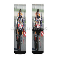Nicky Hayden Repsol Honda Custom Sublimation Printed Socks Polyester Acrylic Nylon Spandex with Small Medium Large Size