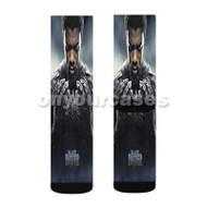 King T Challa Black Panther Custom Sublimation Printed Socks Polyester Acrylic Nylon Spandex with Small Medium Large Size