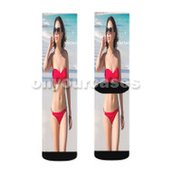 Janel Parrish Custom Sublimation Printed Socks Polyester Acrylic Nylon Spandex with Small Medium Large Size