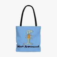 Squidward Not Amused Spongebob Squarepants Custom Personalized Tote Bag Polyester with Small Medium Large Size