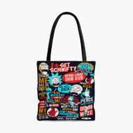 Rick and Morty Collage Quotes Custom Personalized Tote Bag Polyester with Small Medium Large Size