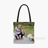 Sabrina Carpenter and Dog Custom Personalized Tote Bag Polyester with Small Medium Large Size