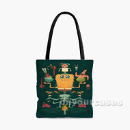 Spongebob Squarepants and Friends Custom Personalized Tote Bag Polyester with Small Medium Large Size
