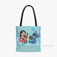 Lilo and Stitch Cute Custom Personalized Tote Bag Polyester with Small Medium Large Size