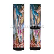 Sexy Alice in Wonderland Custom Sublimation Printed Socks Polyester Acrylic Nylon Spandex with Small Medium Large Size