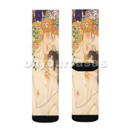 Gustav Klimt Mother and Child Custom Sublimation Printed Socks Polyester Acrylic Nylon Spandex with Small Medium Large Size