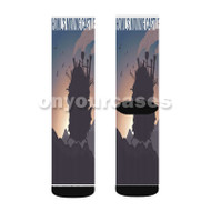 Howl s Moving Castle Silhouette Custom Sublimation Printed Socks Polyester Acrylic Nylon Spandex with Small Medium Large Size