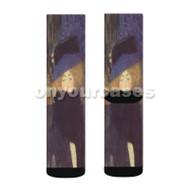 Klimt Gustav Lady with Hat and Feather Boa Custom Sublimation Printed Socks Polyester Acrylic Nylon with Small Medium Large Size