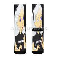 Alice in Wonderland With Metallica Custom Sublimation Printed Socks Polyester Acrylic Nylon Spandex with Small Medium Large Size