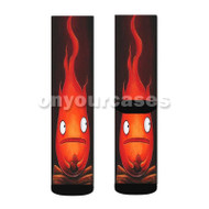 Calcifer Howl s Moving Castle Custom Sublimation Printed Socks Polyester Acrylic Nylon Spandex with Small Medium Large Size