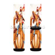 Charmander Ash Pokemon Anime Custom Sublimation Printed Socks Polyester Acrylic Nylon Spandex with Small Medium Large Size