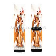 Charmander Ash Pokemon Custom Sublimation Printed Socks Polyester Acrylic Nylon Spandex with Small Medium Large Size