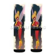 Tinkerbell as Spiderwoman Custom Sublimation Printed Socks Polyester Acrylic Nylon Spandex with Small Medium Large Size