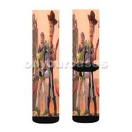 Toy Story Woody and Buzz Disney Custom Sublimation Printed Socks Polyester Acrylic Nylon Spandex with Small Medium Large Size