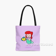 Cute Ariel Mermaid Kawaii Custom Personalized Tote Bag Polyester with Small Medium Large Size