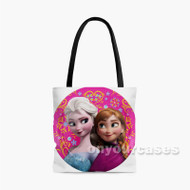 Anna and Elsa Frozen Disney Custom Personalized Tote Bag Polyester with Small Medium Large Size