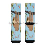 sloth Custom Sublimation Printed Socks Polyester Acrylic Nylon Spandex with Small Medium Large Size