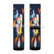 BT21 2 Custom Sublimation Printed Socks Polyester Acrylic Nylon Spandex with Small Medium Large Size