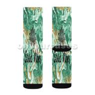 good vibes turquoise Custom Sublimation Printed Socks Polyester Acrylic Nylon Spandex with Small Medium Large Size