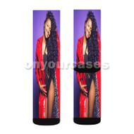Justine Skye U Don t Know Custom Sublimation Printed Socks Polyester Acrylic Nylon Spandex with Small Medium Large Size