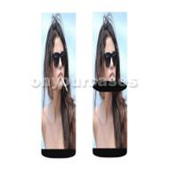 Selena Gomez Cigarette Custom Sublimation Printed Socks Polyester Acrylic Nylon Spandex with Small Medium Large Size