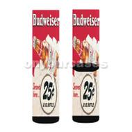 Budweiser Served Here Custom Sublimation Printed Socks Polyester Acrylic Nylon Spandex with Small Medium Large Size