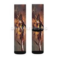 Elektra and Daredevil Custom Sublimation Printed Socks Polyester Acrylic Nylon Spandex with Small Medium Large Size