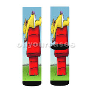Snoopy and Homer Simpson Custom Sublimation Printed Socks Polyester Acrylic Nylon Spandex with Small Medium Large Size
