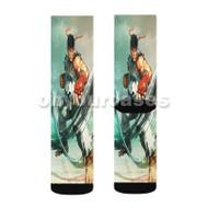 Street Fighter 5 Ryu 2 Custom Sublimation Printed Socks Polyester Acrylic Nylon Spandex with Small Medium Large Size