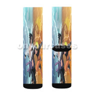 Uchiha Sasuke vs Naruto Shippuden Custom Sublimation Printed Socks Polyester Acrylic Nylon Spandex with Small Medium Large Size