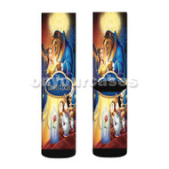 Beauty and the Beast Disney Dancing Custom Sublimation Printed Socks Polyester Acrylic Nylon Spandex with Small Medium Large Size
