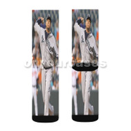 Felix Hernandez Custom Sublimation Printed Socks Polyester Acrylic Nylon Spandex with Small Medium Large Size
