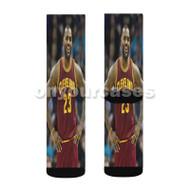 Lebron James Cleveland Custom Sublimation Printed Socks Polyester Acrylic Nylon Spandex with Small Medium Large Size