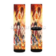 One Piece Fire Custom Sublimation Printed Socks Polyester Acrylic Nylon Spandex with Small Medium Large Size