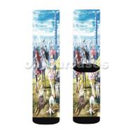 Puella Magi Madoka Magica Girls Custom Sublimation Printed Socks Polyester Acrylic Nylon Spandex with Small Medium Large Size