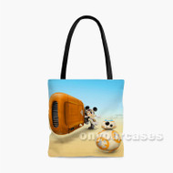 BB8 and Minnie Mouse Star Wars The Force Awakens Droid Custom Personalized Tote Bag Polyester with Small Medium Large Size