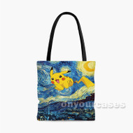 Pikachu Pokemon Starry Night Custom Personalized Tote Bag Polyester with Small Medium Large Size