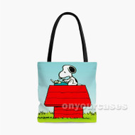 Snoopy The Peanuts Typing Custom Personalized Tote Bag Polyester with Small Medium Large Size