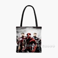 Spiderman on Captain America Civil War Marvel Custom Personalized Tote Bag Polyester with Small Medium Large Size