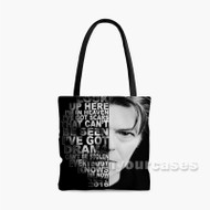 David Bowie Face Quotes Custom Personalized Tote Bag Polyester with Small Medium Large Size