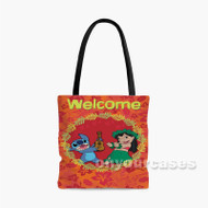 Disney Lilo and Stitch Welcome Custom Personalized Tote Bag Polyester with Small Medium Large Size