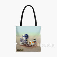 R2 D2 and BB8 Star Wars The Force Awakens Custom Personalized Tote Bag Polyester with Small Medium Large Size