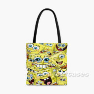 Spongebob Squarepants Collage Custom Personalized Tote Bag Polyester with Small Medium Large Size