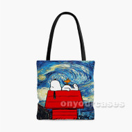 Starry Night Snoopy The Peanuts Custom Personalized Tote Bag Polyester with Small Medium Large Size