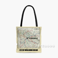 The Walking Dead Map Custom Personalized Tote Bag Polyester with Small Medium Large Size