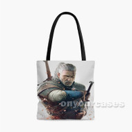 The Witcher 3 Wild Hunt Geralt Two Sword Custom Personalized Tote Bag Polyester with Small Medium Large Size