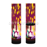 Mickey and Minnie as Flynn and Rapunzel Custom Sublimation Printed Socks Polyester Acrylic Nylon Spandex with Small Medium Large Size