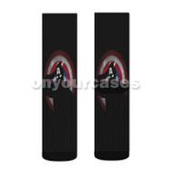 Captain America Silhouette Custom Sublimation Printed Socks Polyester Acrylic Nylon Spandex with Small Medium Large Size